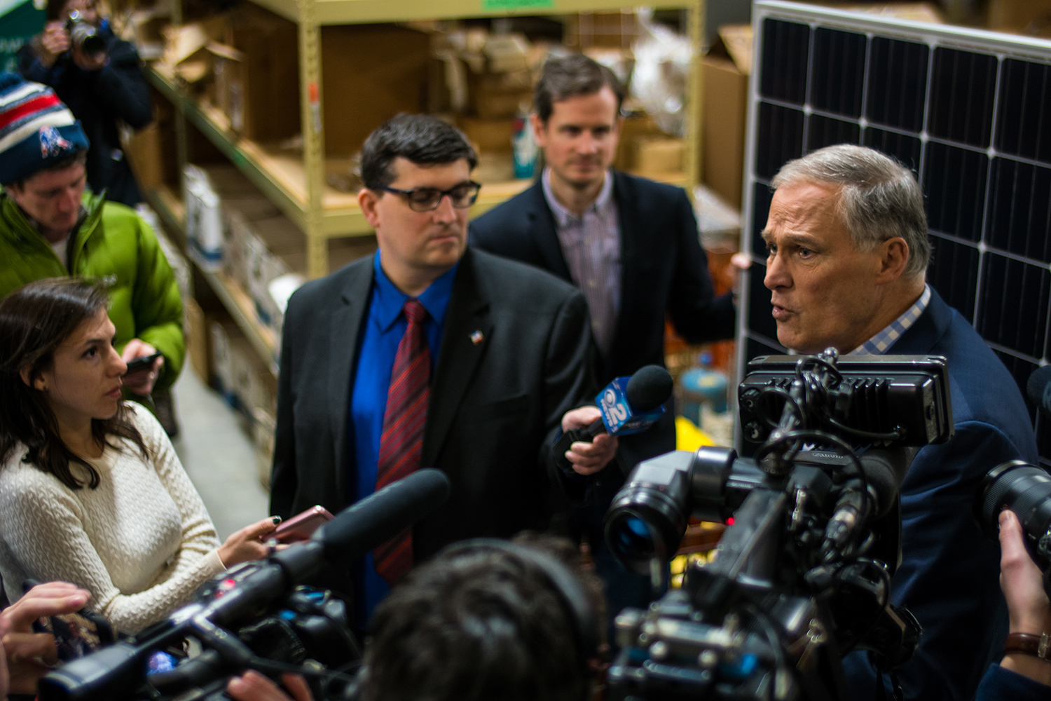 Washington Gov. Jay Inslee stopped by Paulson Electric Co. in Cedar Rapids on Tuesday, March 5, 2019. Jay Inslee talked with CEO Tyler Olson about climate change and how solar panels help combat its effects.