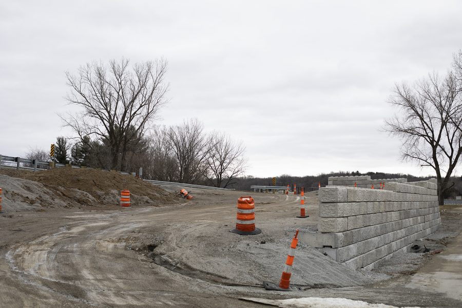 Construction+areas+are+pictured+near+Mehaffey+Bridge+on+Thursday%2C+March+14%2C+2019.+The+bridge+and+surrounding+area+are+apart+of+the+trail+renovation+project.