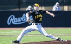 Iowa pitcher Cam Baumann throws a pitch during the first game of a baseball doubleheader between Iowa and Cal-State Northridge at Duane Banks Field on Sunday, March 17, 2019. The Hawkeyes defeated the Matadors, 5-4.
