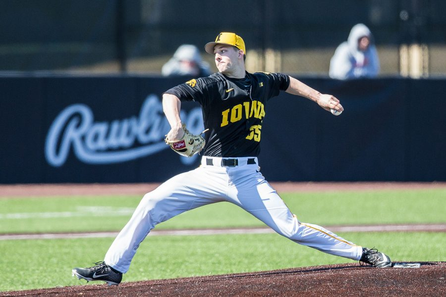 Iowa+pitcher+Cam+Baumann+throws+a+pitch+during+the+first+game+of+a+baseball+doubleheader+between+Iowa+and+Cal-State+Northridge+at+Duane+Banks+Field+on+Sunday%2C+March+17%2C+2019.+The+Hawkeyes+defeated+the+Matadors%2C+5-4.+
