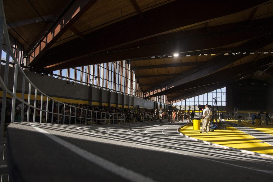 Competitors line up during the Border Battle indoor track meet in the UI Recreation Building with Iowa, Missouri and Illinois competing on Saturday, Jan. 7, 2017. The Hawkeye women defeated Missouri and Illinois, 105-33 and 96-51 respectively, while the men defeated Missouri, 107-27 and fell to Illinois, 85-74.