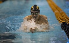 University of Iowa's Tanner Nelson competes in the 200 meter breaststroke during finals of the Big 10 Swimming Championships on Saturday, March 2, 2019.