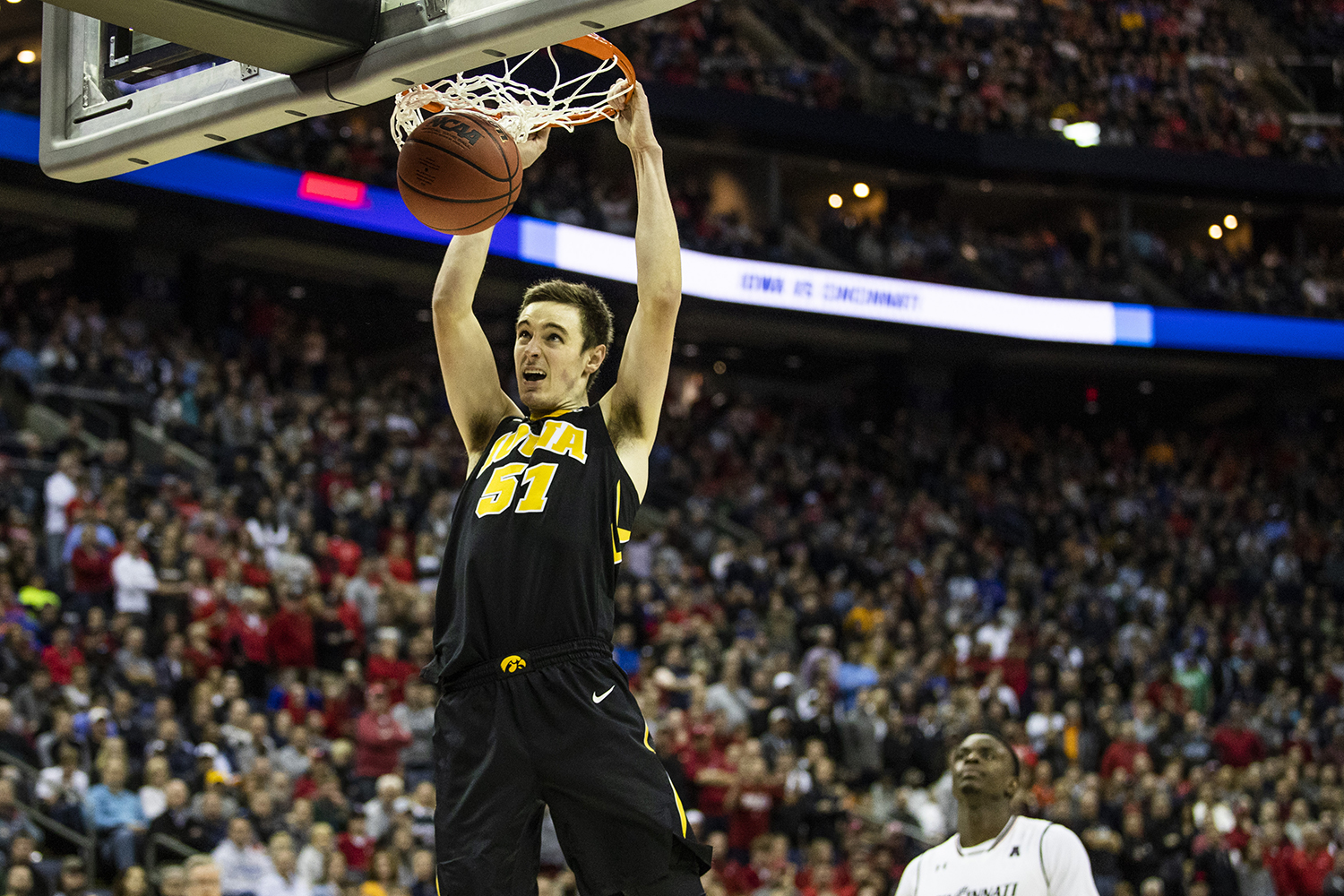 during the NCAA game against Cincinnati at Nationwide Arena on Friday March 22, 2019. The Hawkeyes defeated the Bearcats 79-72.