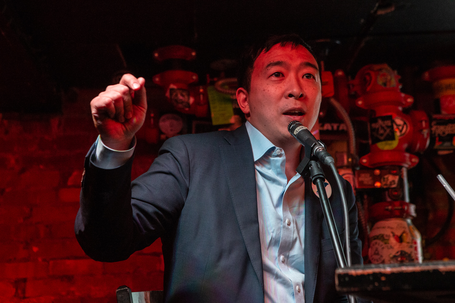 Democratic presidential-nomination candidate Andrew Yang speaks during a Political Party Live event at the Yacht Club in Iowa City on Wednesday, March 13, 2019. During the event, presidential-nomination candidate Yang spoke about his background in the technology industry, and his plans if he wins the presidency.
