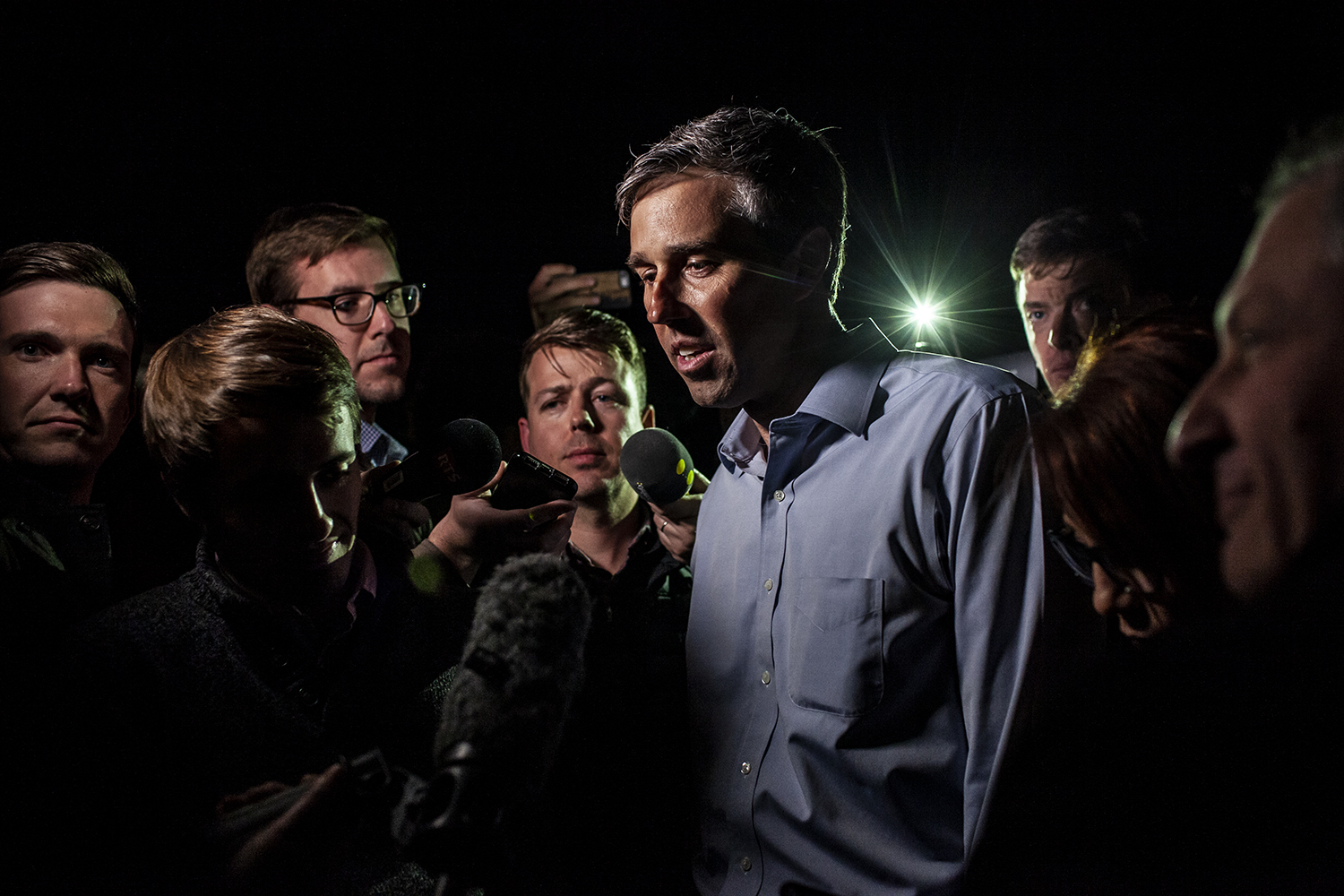 Democratic presidential candidate Beto O'Rourke speaks with members of the press after speaking at the home of John Murphy in Dubuque, Iowa on Sunday, March 16, 2019.