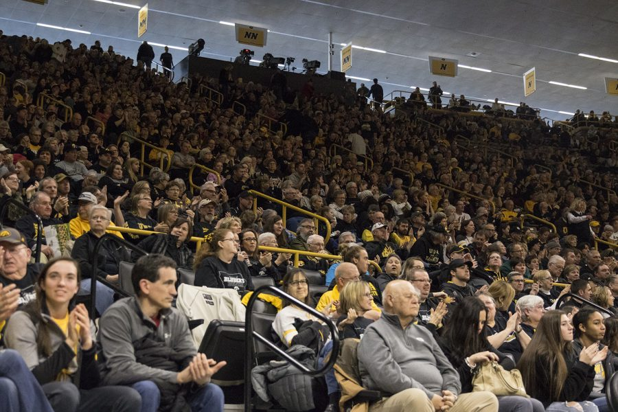 Stands are packed with spectators during women's basketball against Northwestern in Carver-Hawkeye Arena on March 3, 2019. Iowa defeated Northwestern 74-50. (Katie Goodale/The Daily Iowan)