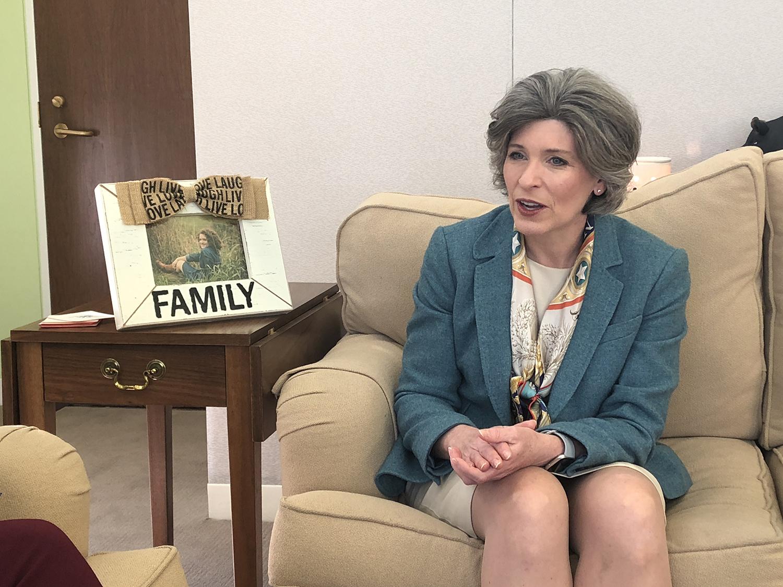 Sen. Joni Ernst, R-Iowa, speaks in her Washington, D.C. office on Wednesday.