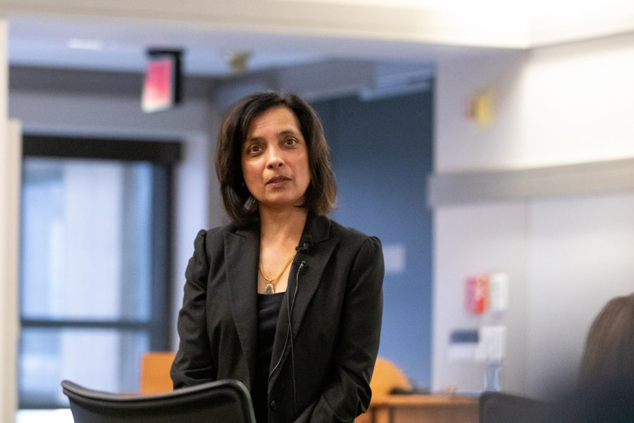 Meenakshi+Gigi+Durham%2C+associate+dean+of+the+College+of+Liberal+Arts+%26+Sciences%2C+responds+to+a+question+at+the+associate+vice+president+for+Diversity%2C+Equity%2C+and+Inclusion+forum+in+the+Pappajohn+Business+Building+on+Thursday%2C+March+7%2C+2019.+