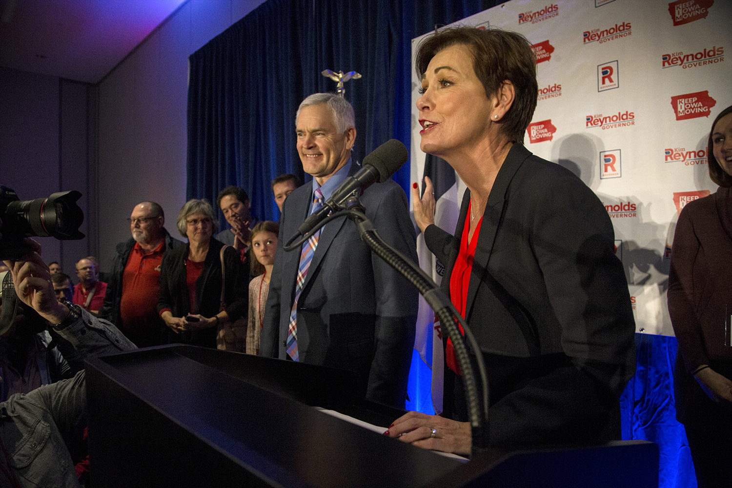 Re-elected Governor Kim Reynolds addresses her supporters at the Hilton in Des Moines on Wednesday, November 7, 2018. Reynolds defeated her opponent, Democratic candidate Fred Hubbell 50.19% to 47.61% with 92 counties reporting in an unofficial total.