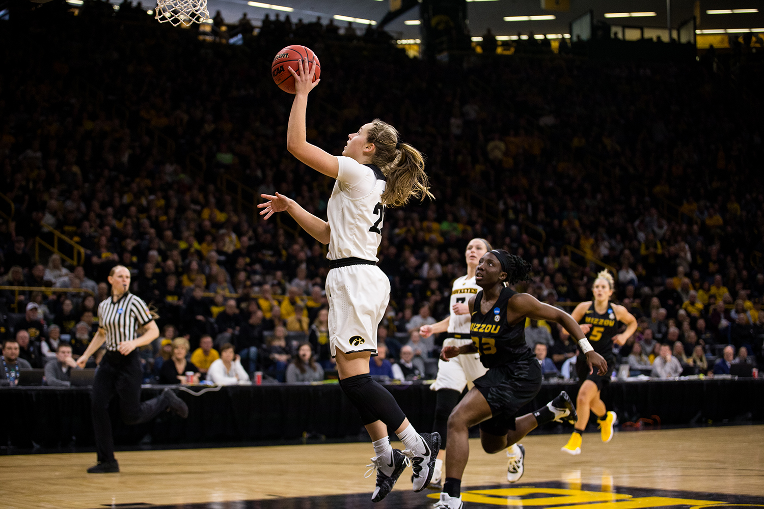 Iowa+guard+Kathleen+Doyle+%2822%29+takes+a+shot+during+the+Iowa%2FMissouri+NCAA+Tournament+second+round+women%E2%80%99s+basketball+game+in+Carver-Hawkeye+Arena+in+Iowa+City%2C+Iowa+on+Sunday%2C+March+24%2C+2019.+The+Hawkeyes+defeated+the+Tigers+68-52.