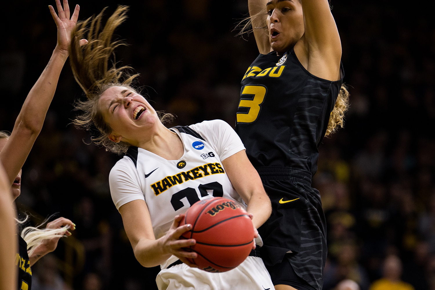 Iowa+guard+Kathleen+Doyle+%2822%29+gets+denied+the+basket+during+the+Iowa%2FMissouri+NCAA+Tournament+second+round+women%E2%80%99s+basketball+game+in+Carver-Hawkeye+Arena+in+Iowa+City%2C+Iowa+on+Sunday%2C+March+24%2C+2019.+The+Hawkeyes+defeated+the+Tigers+68-52.