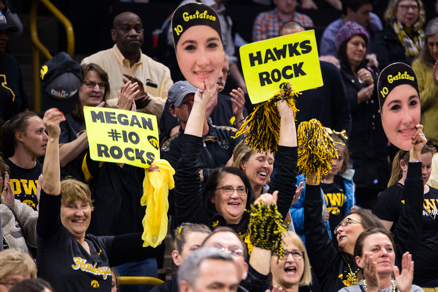 Iowa center Megan Gustafson (10) family cheers her on after the Iowa/Missouri NCAA Tournament second round women's basketball game in Carver-Hawkeye Arena in Iowa City, Iowa on Sunday, March 24, 2019. The Hawkeyes defeated the Tigers 68-52.