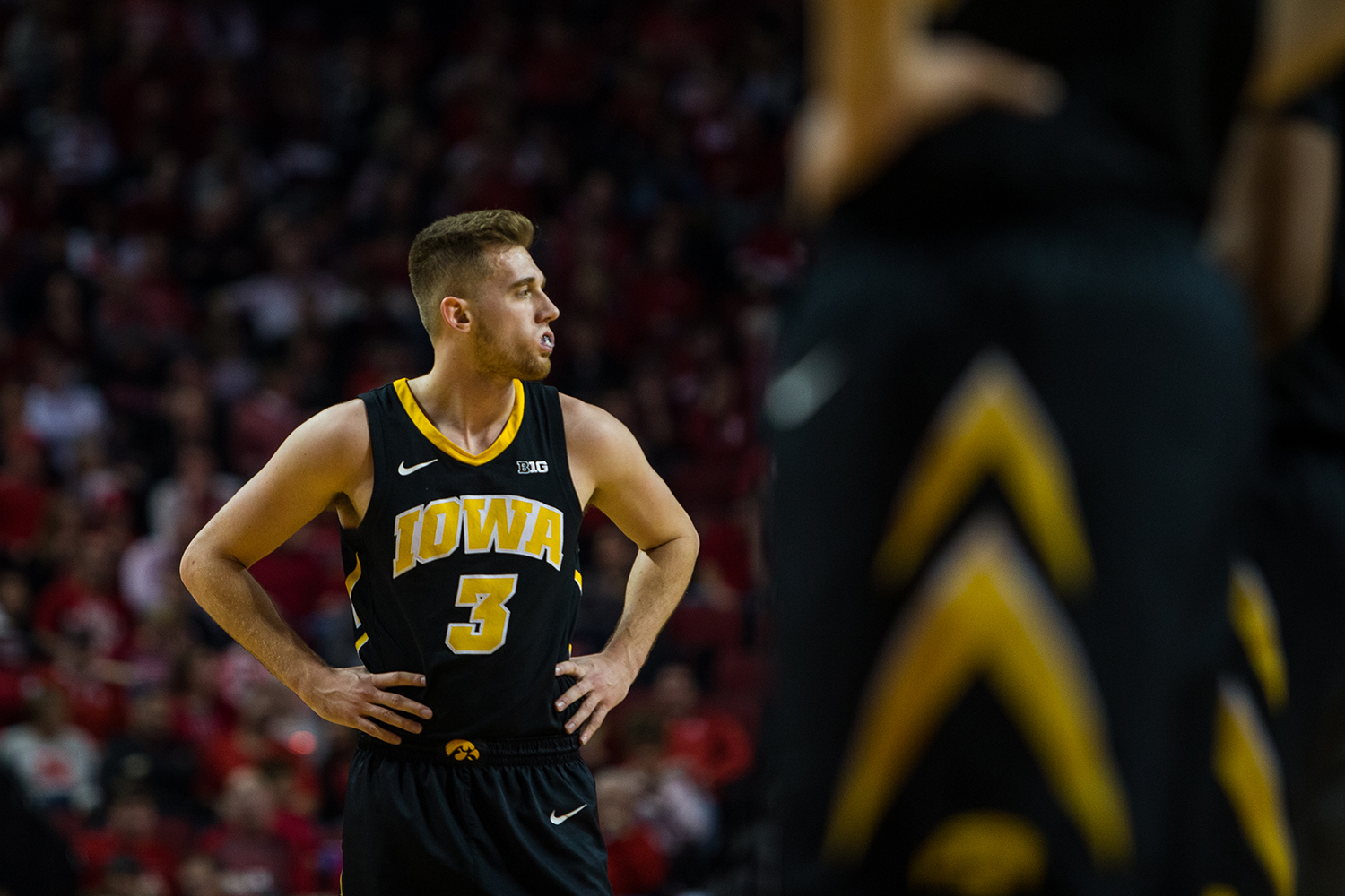 Iowa Guard Jordan Bohannon #3  looks toward the bench during a mens basketball game between the Iowa Hawkeyes and the Nebraska Huskers at Pinnacle Bank Arena on Sunday, March 10, 2019. The Hawkeyes fell in overtime to the Huskers, 93-91.