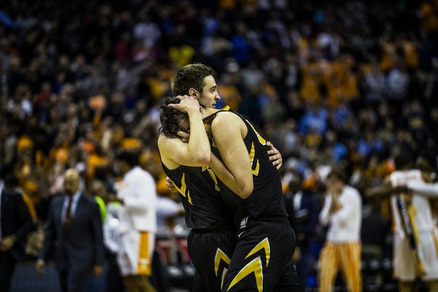 Iowa+forward+Nicholas+Baer+comforts+Luka+Garza+after+the+loss+against+Tennessee+in+the+NCAA+tournament+at+Nationwide+Arena+on+Sunday%2C+March+24%2C+2019.+The+Volunteers+defeated+the+Hawkeyes+83-77.+