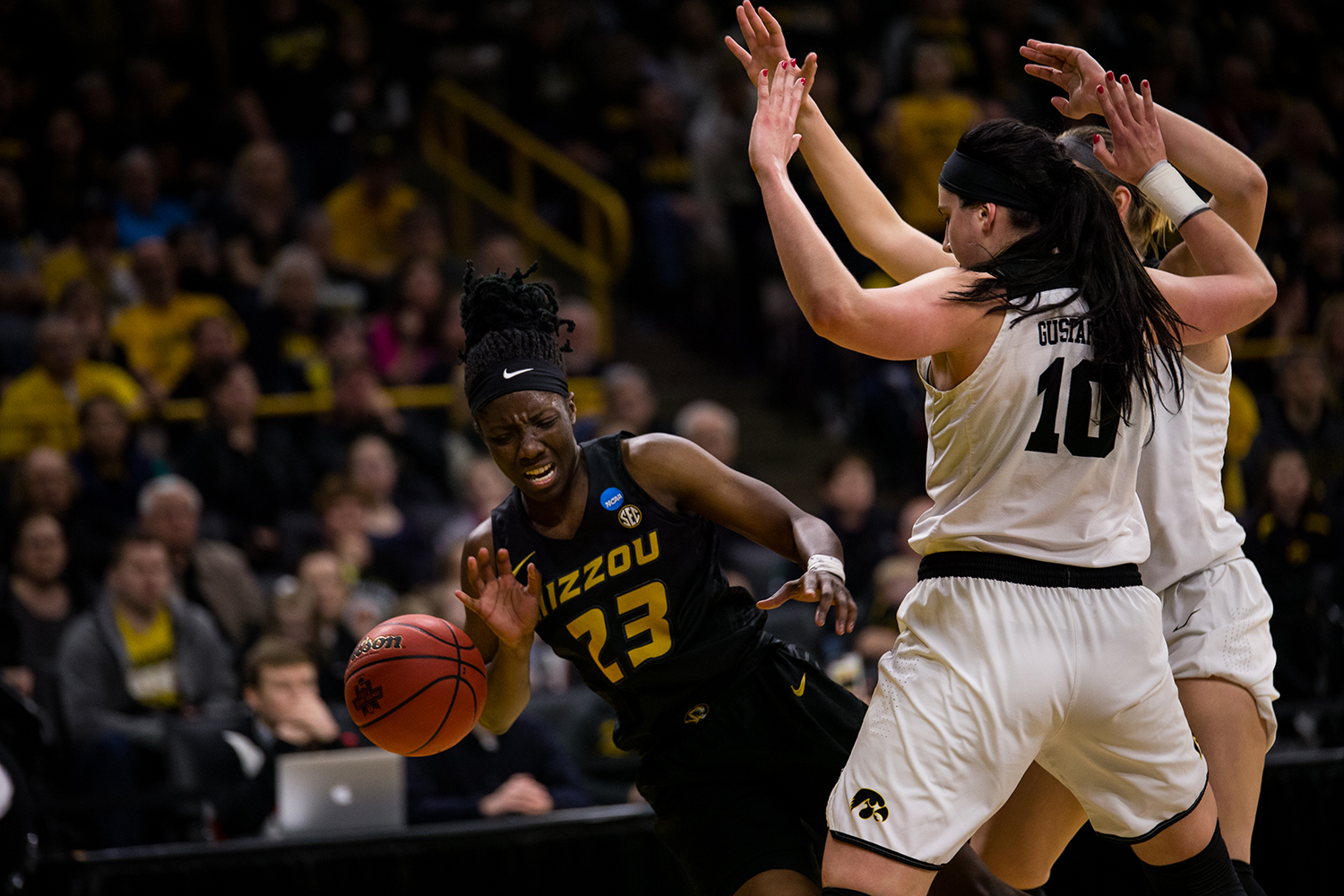 Iowa+center+Megan+Gustafson+%2810%29+and+Iowa+forward+Hannah+Stewart+%2821%29+blocks+a+shot+during+the+Iowa%2FMissouri+NCAA+Tournament+second+round+women%E2%80%99s+basketball+game+in+Carver-Hawkeye+Arena+in+Iowa+City%2C+Iowa+on+Sunday%2C+March+24%2C+2019.+The+Hawkeyes+defeated+the+Tigers+68-52.