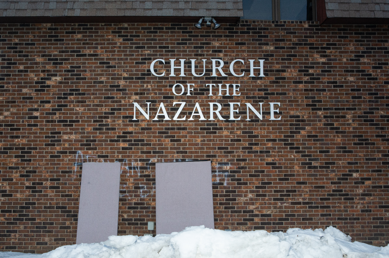 The Church of the Nazarene is seen on Monday, March 4, 2019. The church was vandalized with derogatory racial slurs and swastikas.