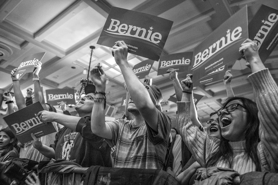Supporters+cheer+as+Sen.+Bernie+Sanders%2C+I-Vt.%2C+speaks+during+a+campaign+rally+at+the+Iowa+Memorial+Union+on+Friday%2C+March+8%2C+2019.+The+rally+was+a+part+of+Sen.+Sanders%27+first+trip+to+Iowa+since+announcing+his+2020+presidential+bid.