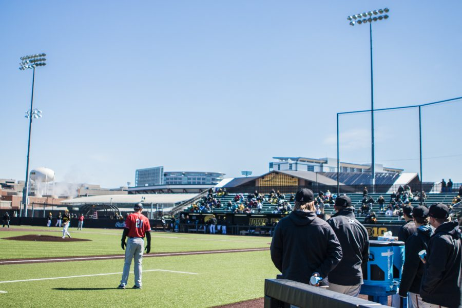 CSUN+players+watch+from+the+dugout+during+the+first+game+of+a+baseball+doubleheader+between+Iowa+and+Cal-State+Northridge+at+Duane+Banks+Field+on+Sunday%2C+March+17%2C+2019.+The+Hawkeyes+defeated+the+Matadors%2C+5-4.