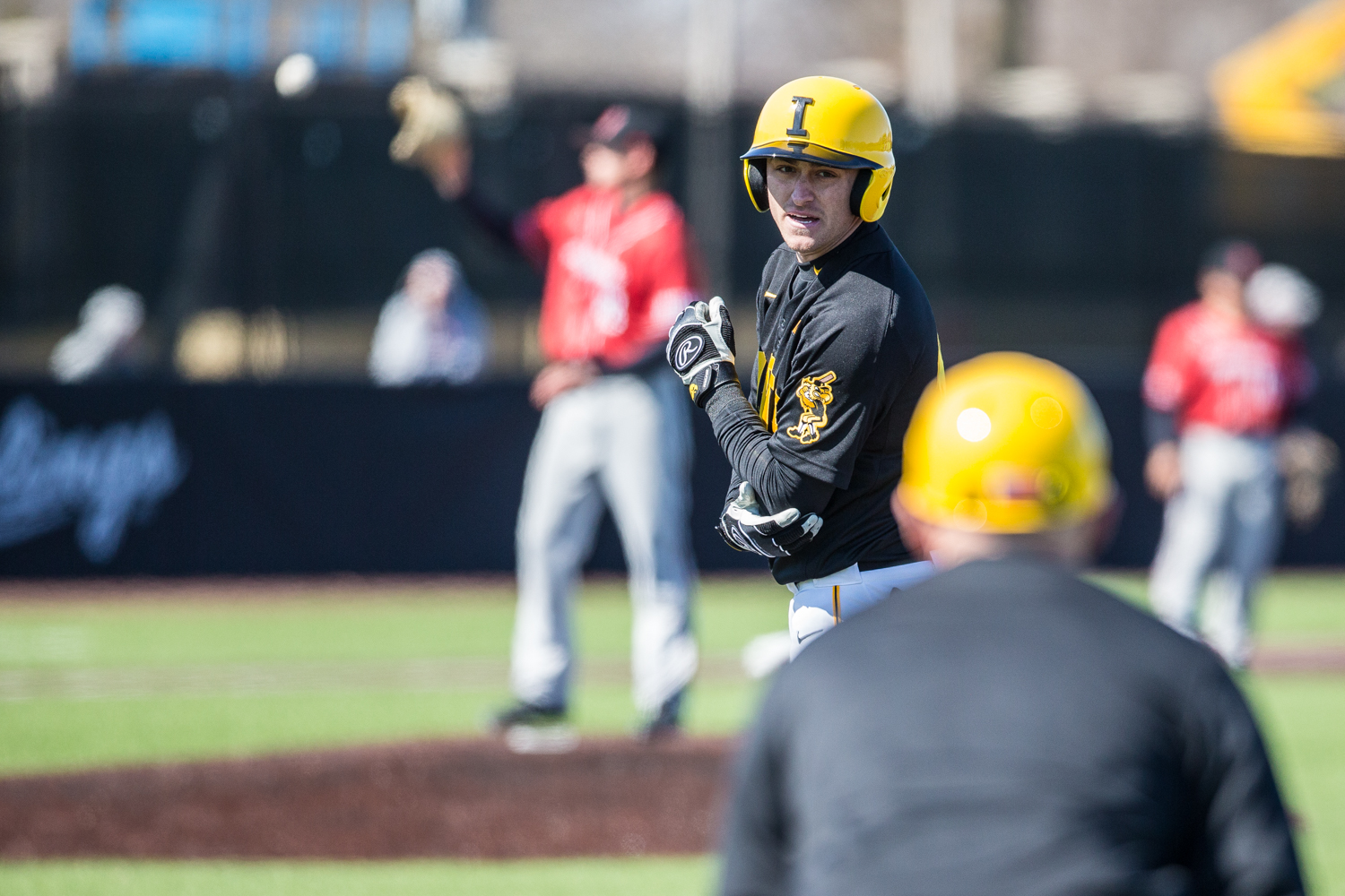 Iowa+infielder+Tanner+Wetrich+stands+at+first+base+during+the+first+game+of+a+baseball+doubleheader+between+Iowa+and+Cal-State+Northridge+at+Duane+Banks+Field+on+Sunday%2C+March+17%2C+2019.+The+Hawkeyes+defeated+the+Matadors%2C+5-4.