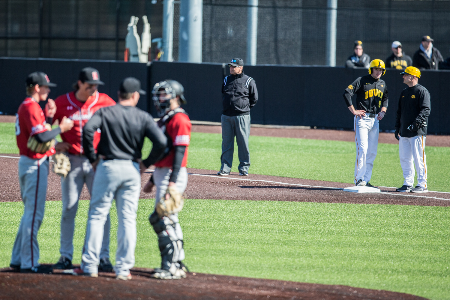Iowa+outfielder+Ben+Norman+stands+on+first+base+during+the+first+game+of+a+baseball+doubleheader+between+Iowa+and+Cal-State+Northridge+at+Duane+Banks+Field+on+Sunday%2C+March+17%2C+2019.+The+Hawkeyes+defeated+the+Matadors%2C+5-4.