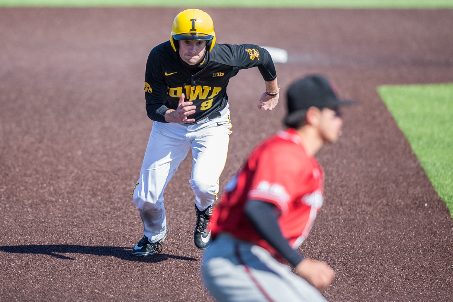 Iowa+outfielder+Ben+Norman+steals+third+base+during+the+first+game+of+a+baseball+doubleheader+between+Iowa+and+Cal-State+Northridge+at+Duane+Banks+Field+on+Sunday%2C+March+17%2C+2019.+The+Hawkeyes+defeated+the+Matadors%2C+5-4.