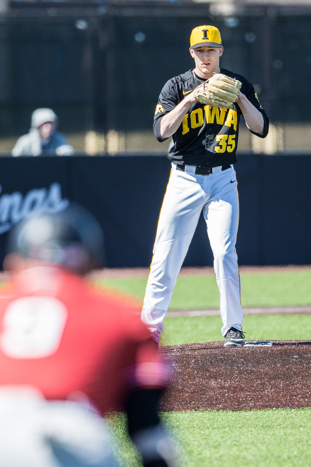 Iowa+pitcher+Cam+Baumann+eyes+down+first+base+during+the+first+game+of+a+baseball+doubleheader+between+Iowa+and+Cal-State+Northridge+at+Duane+Banks+Field+on+Sunday%2C+March+17%2C+2019.+The+Hawkeyes+defeated+the+Matadors%2C+5-4.