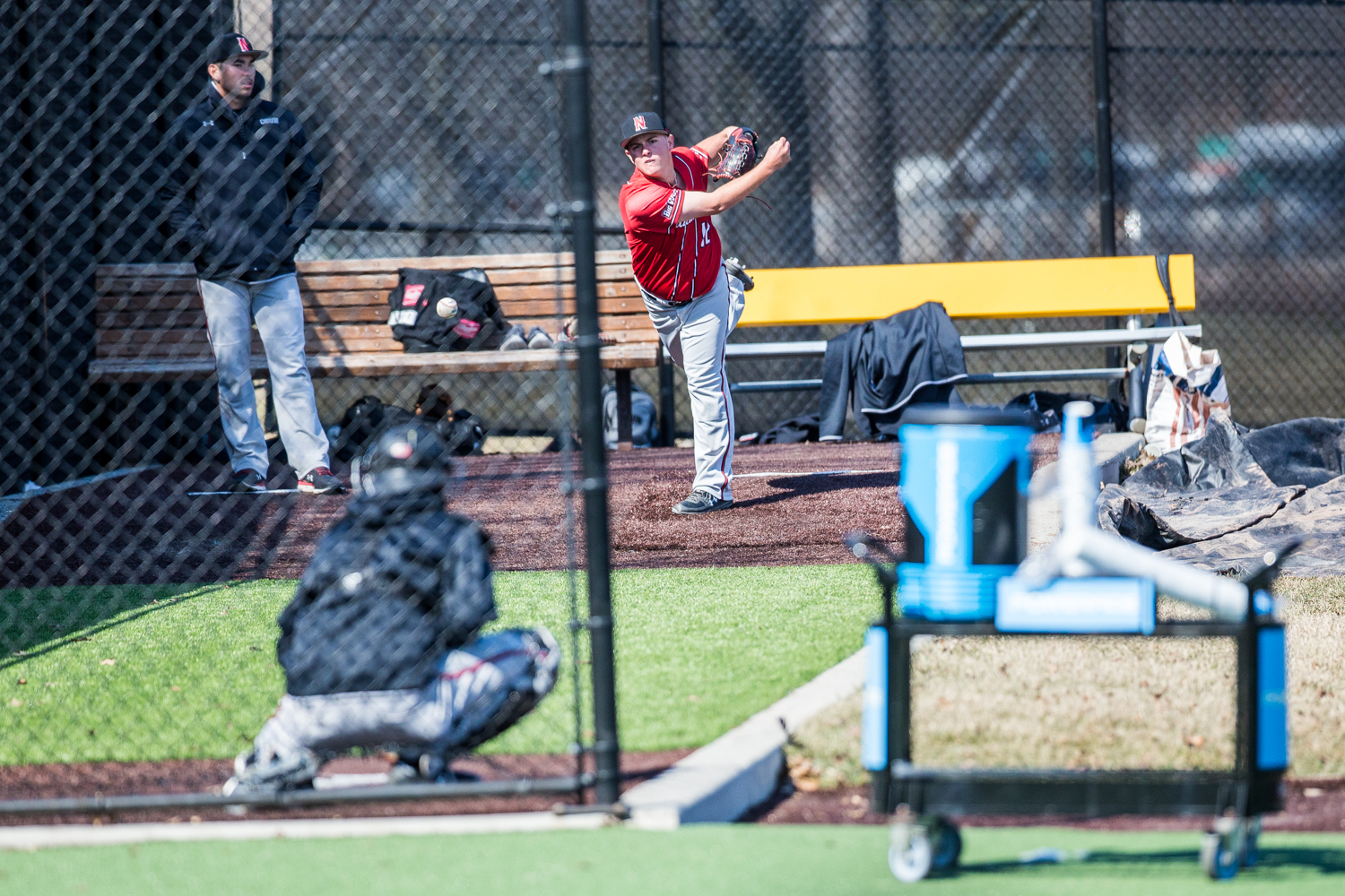 CSUN+pitcher+Blaine+Traxel+warms+up+in+the+bullpen+during+the+first+game+of+a+baseball+doubleheader+between+Iowa+and+Cal-State+Northridge+at+Duane+Banks+Field+on+Sunday%2C+March+17%2C+2019.+The+Hawkeyes+defeated+the+Matadors%2C+5-4.