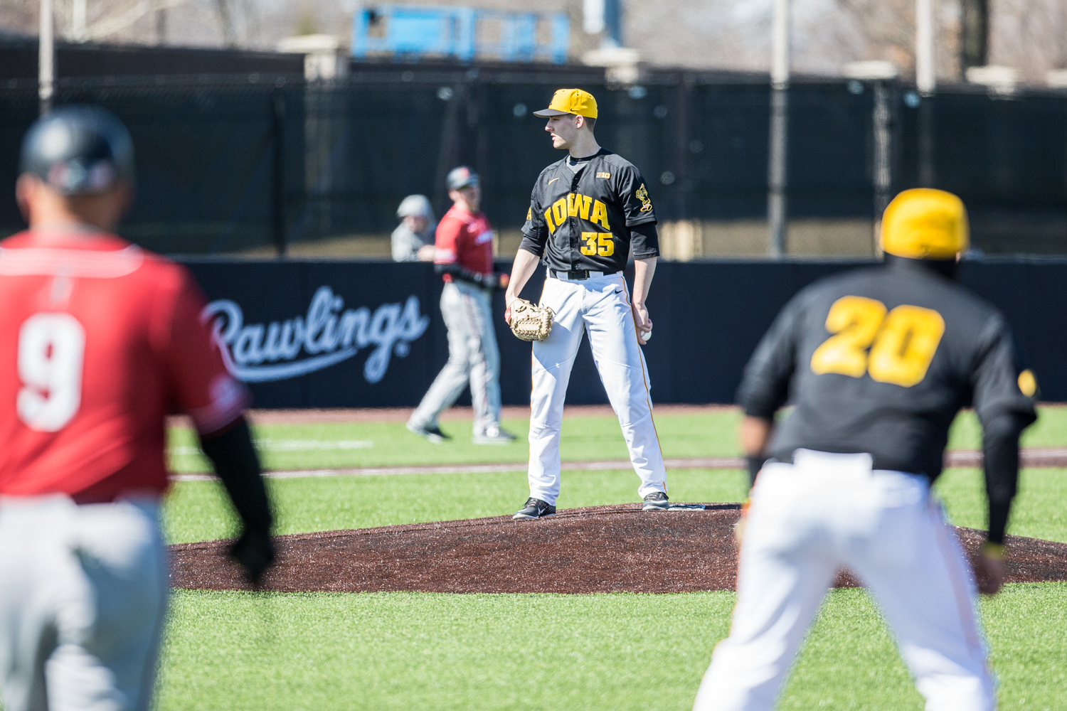 Iowa+pitcher+Cam+Baumann+looks+to+home+plate+during+the+first+game+of+a+baseball+doubleheader+between+Iowa+and+Cal-State+Northridge+at+Duane+Banks+Field+on+Sunday%2C+March+17%2C+2019.+The+Hawkeyes+defeated+the+Matadors%2C+5-4.