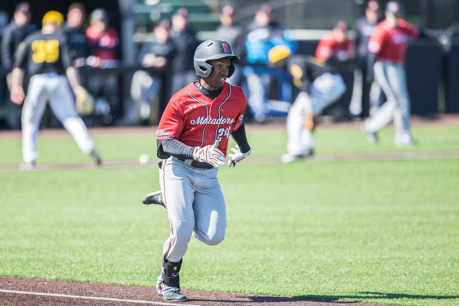 CSUN+outfielder+Robert+Bullard+sprints+to+first+during+the+first+game+of+a+baseball+doubleheader+between+Iowa+and+Cal-State+Northridge+at+Duane+Banks+Field+on+Sunday%2C+March+17%2C+2019.+The+Hawkeyes+defeated+the+Matadors%2C+5-4.