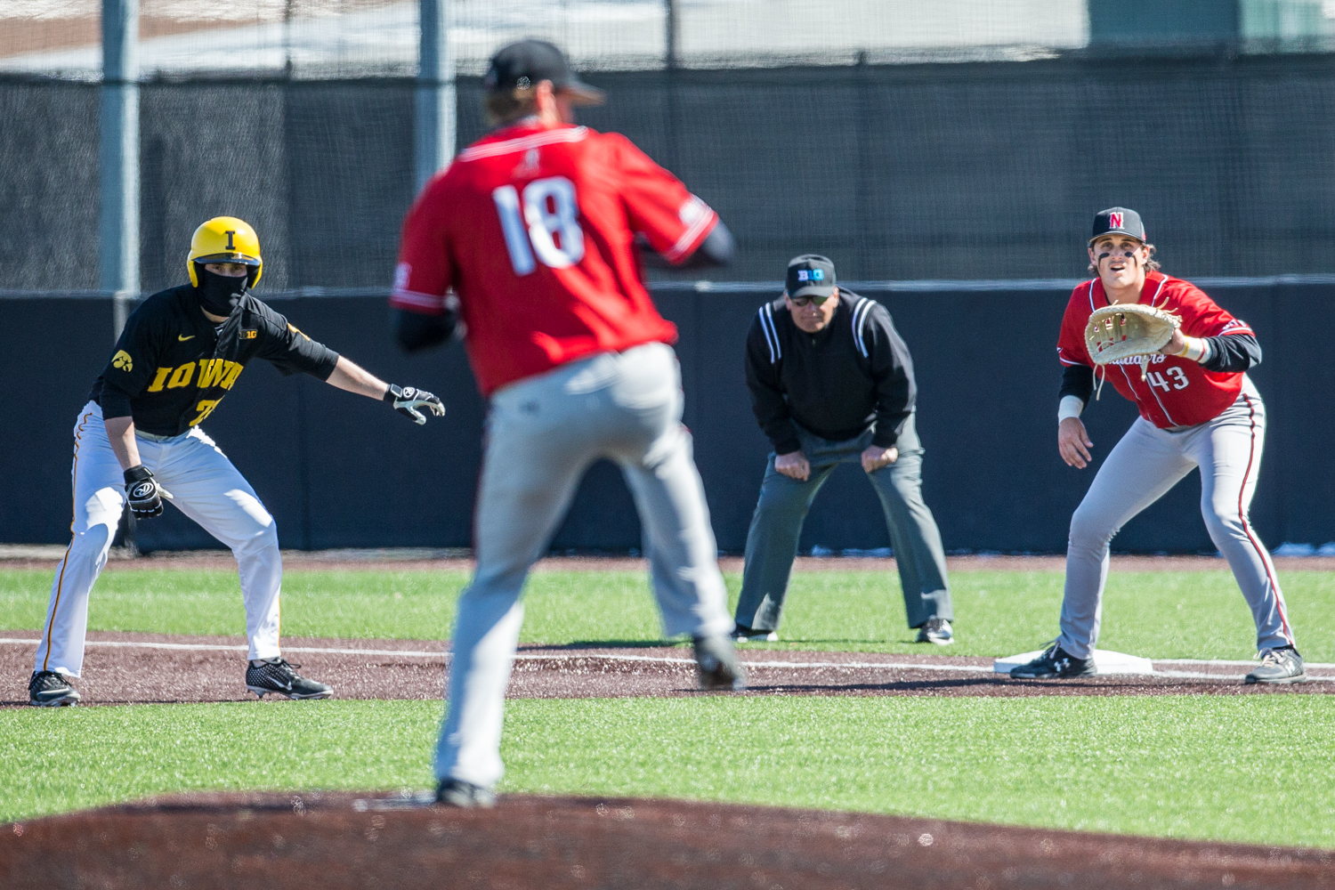 CSUN+first+baseman+Wesley+Ghan-Gibson+%2843%29+awaits+a+pickoff+throw+during+the+first+game+of+a+baseball+doubleheader+between+Iowa+and+Cal-State+Northridge+at+Duane+Banks+Field+on+Sunday%2C+March+17%2C+2019.+The+Hawkeyes+defeated+the+Matadors%2C+5-4.