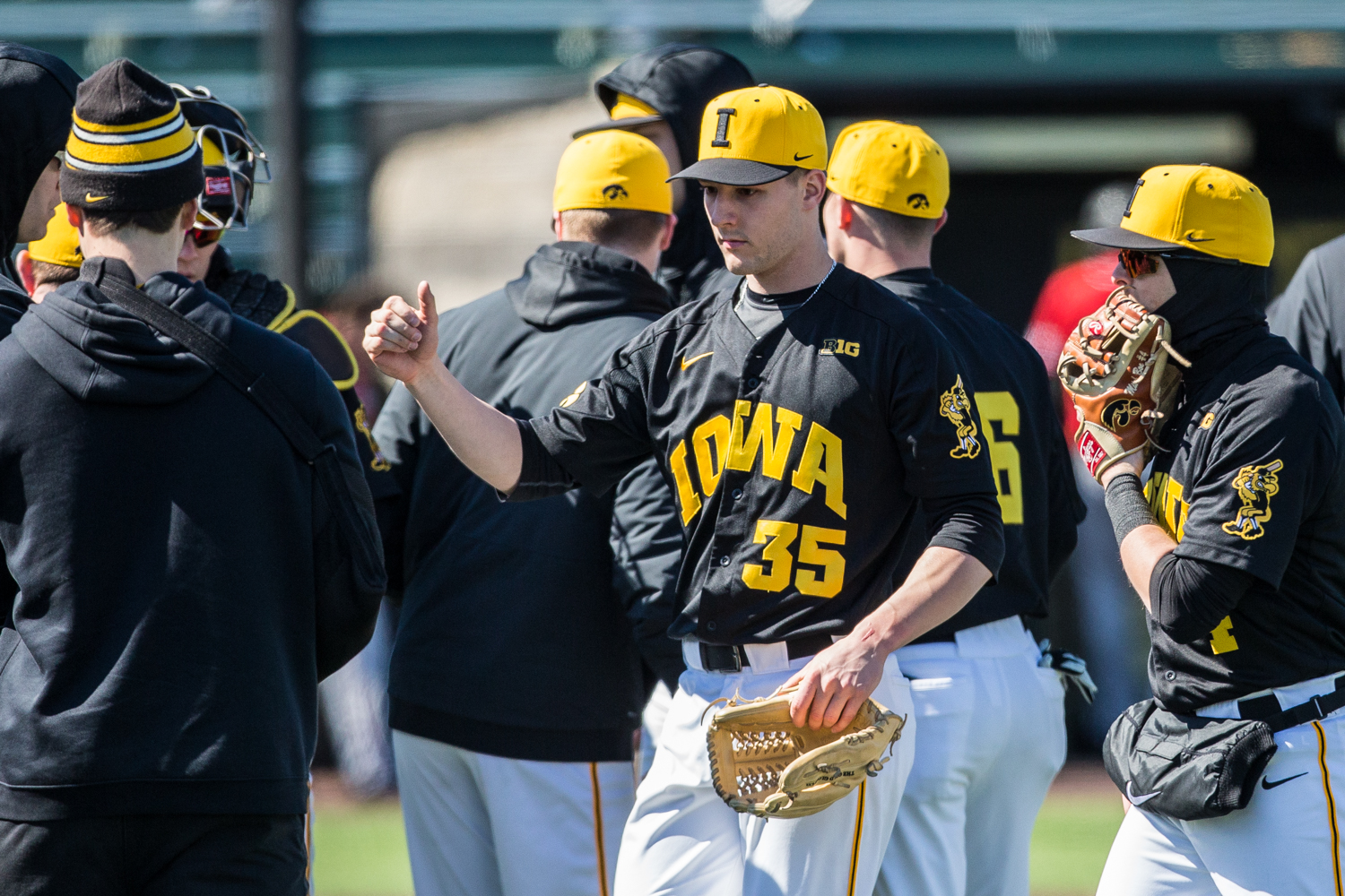 Iowa+pitcher+Cam+Baumann+walks+to+the+dugout+for+a+changeover+during+the+first+game+of+a+baseball+doubleheader+between+Iowa+and+Cal-State+Northridge+at+Duane+Banks+Field+on+Sunday%2C+March+17%2C+2019.+The+Hawkeyes+defeated+the+Matadors%2C+5-4.