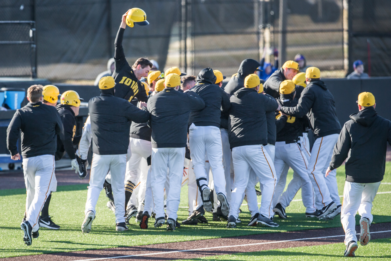 Iowa+players+celebrate+a+walk-off+RBI+during+the+first+game+of+a+baseball+doubleheader+between+Iowa+and+Cal-State+Northridge+at+Duane+Banks+Field+on+Sunday%2C+March+17%2C+2019.+The+Hawkeyes+defeated+the+Matadors%2C+5-4.