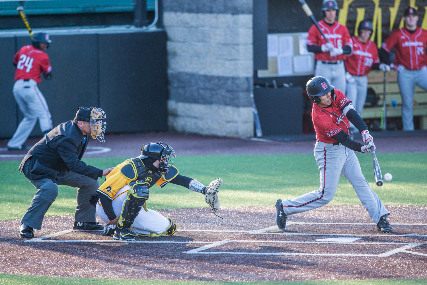CSUN+infielder+Brandon+Bohning+makes+contact+during+the+second+game+of+a+baseball+doubleheader+between+Iowa+and+Cal-State+Northridge+at+Duane+Banks+Field+on+Sunday%2C+March+17%2C+2019.+The+Hawkeyes+took+the+series+by+defeating+the+Matadors%2C+3-1.