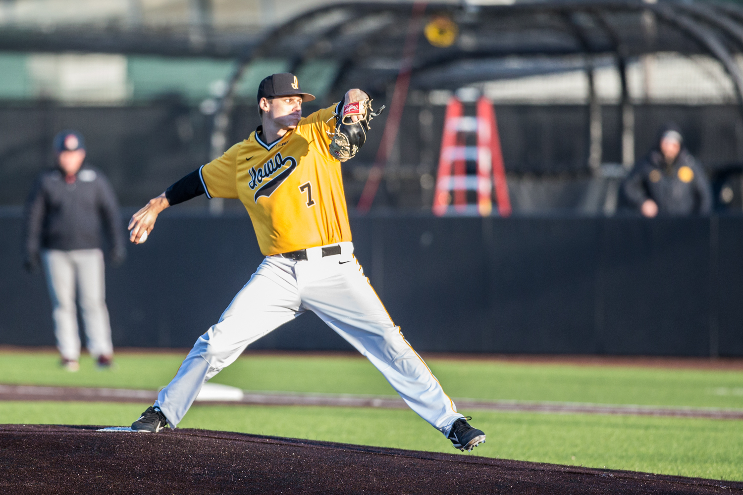 Iowa pitcher Grant Judkins throws a pitch during the second game of a baseball doubleheader between Iowa and Cal-State Northridge at Duane Banks Field on Sunday, March 17, 2019. The Hawkeyes took the series by defeating the Matadors, 3-1.