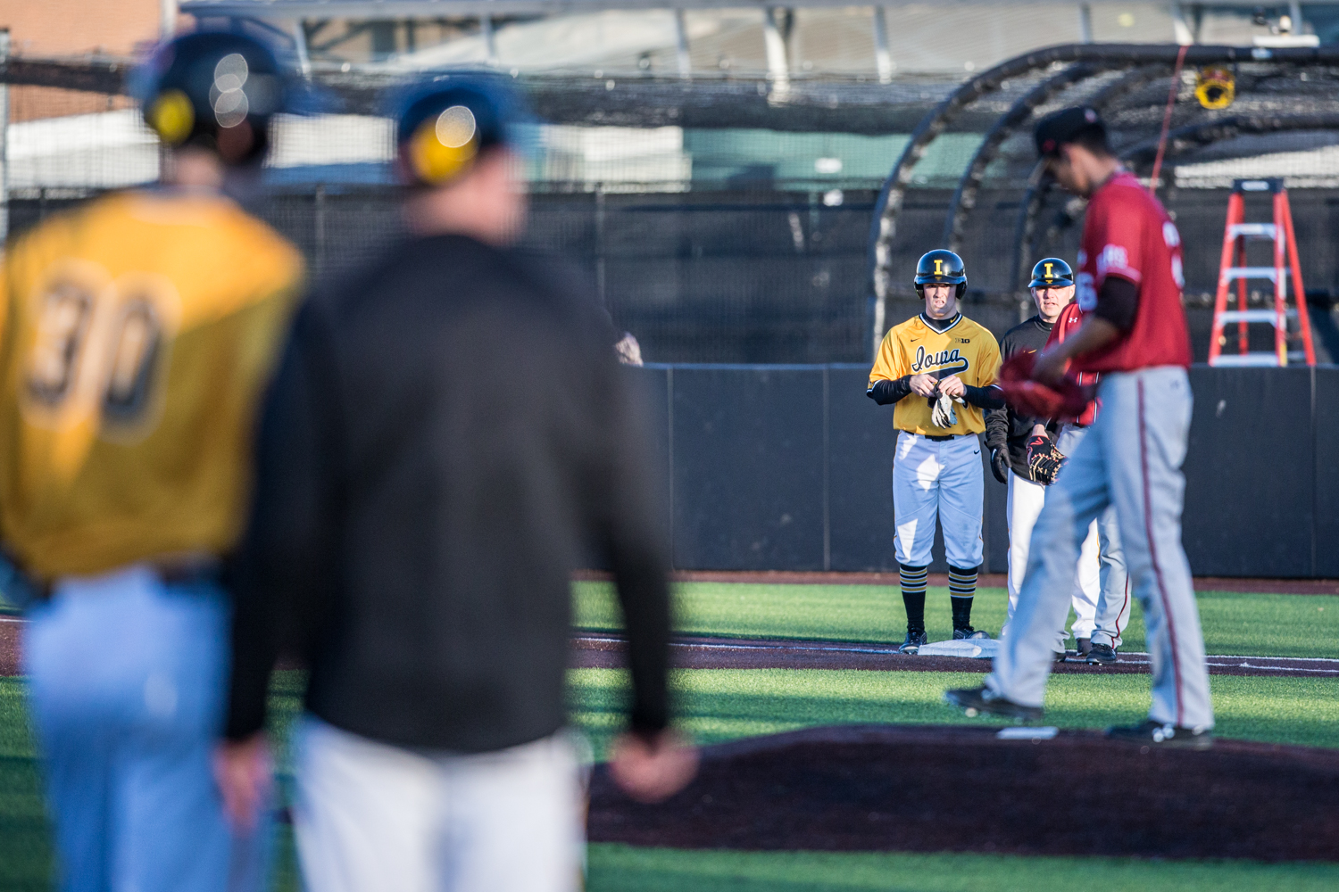 Iowa+outfielder+Justin+Jenkins+stands+on+first+during+the+second+game+of+a+baseball+doubleheader+between+Iowa+and+Cal-State+Northridge+at+Duane+Banks+Field+on+Sunday%2C+March+17%2C+2019.+The+Hawkeyes+took+the+series+by+defeating+the+Matadors%2C+3-1.