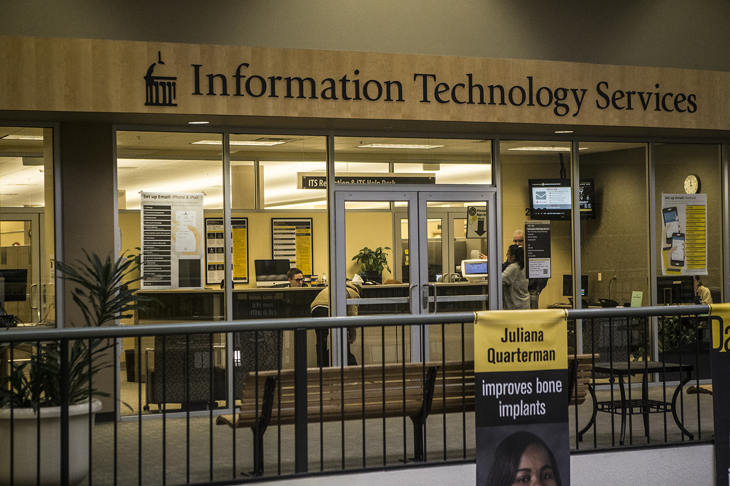 The University of Iowa's information technology services help center is seen in the old capital mall on Tuesday, January 22, 2019.