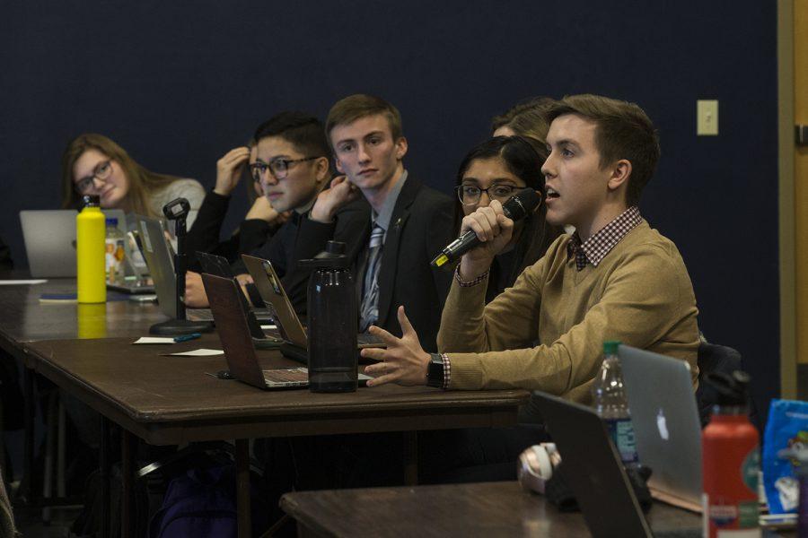 UISG members debate legislature at a meeting in the Iowa Memorial Union on Tuesday February 12 2019.