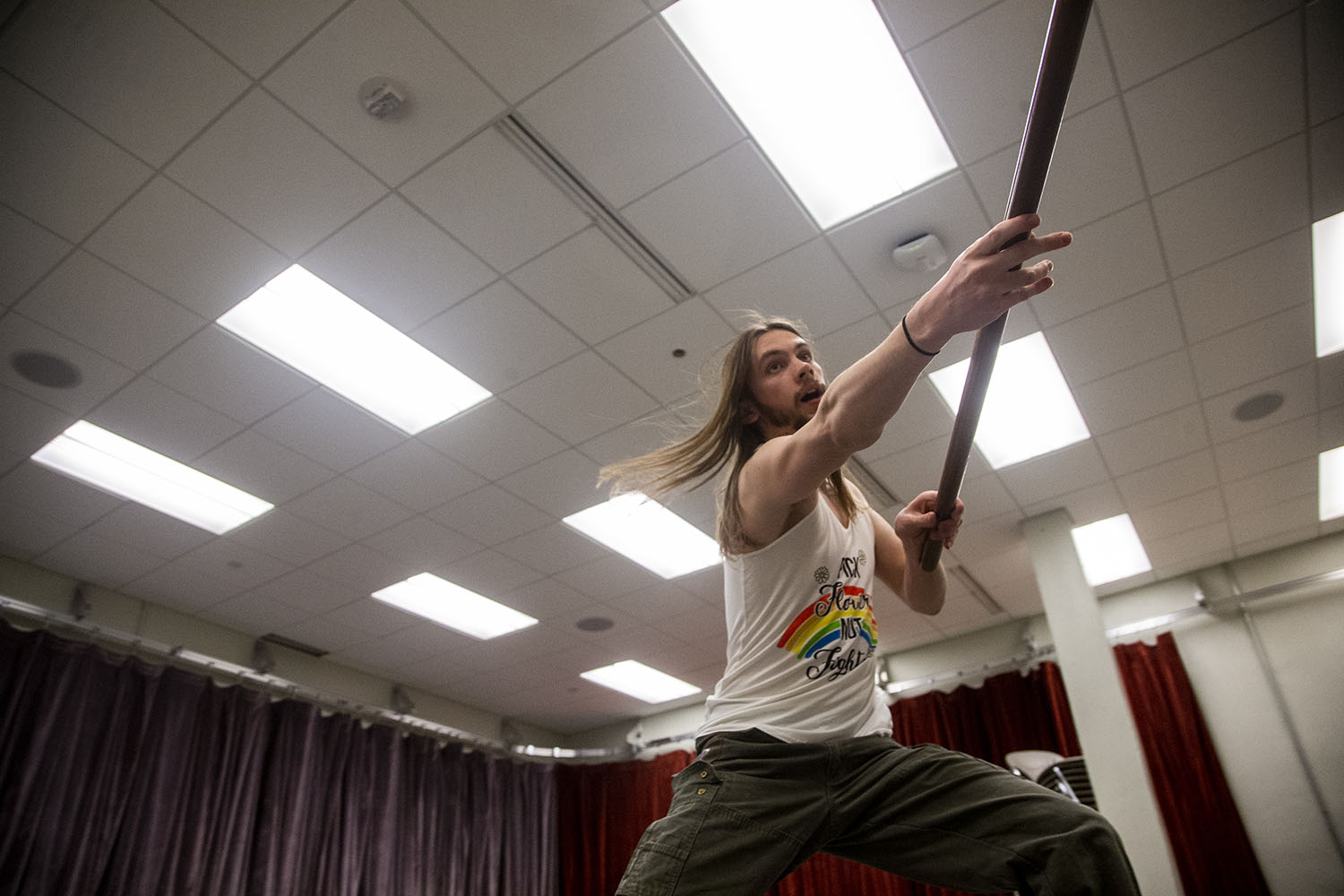UI Junior Dante Benjegerdes demonstrates stage combat choreography at the Theatre Building on Monday, March 25, 2019. Although a competitive niche, Benjegerdes plans to pursue stage combat professionally. (Alyson Kuennen/The Daily Iowan)