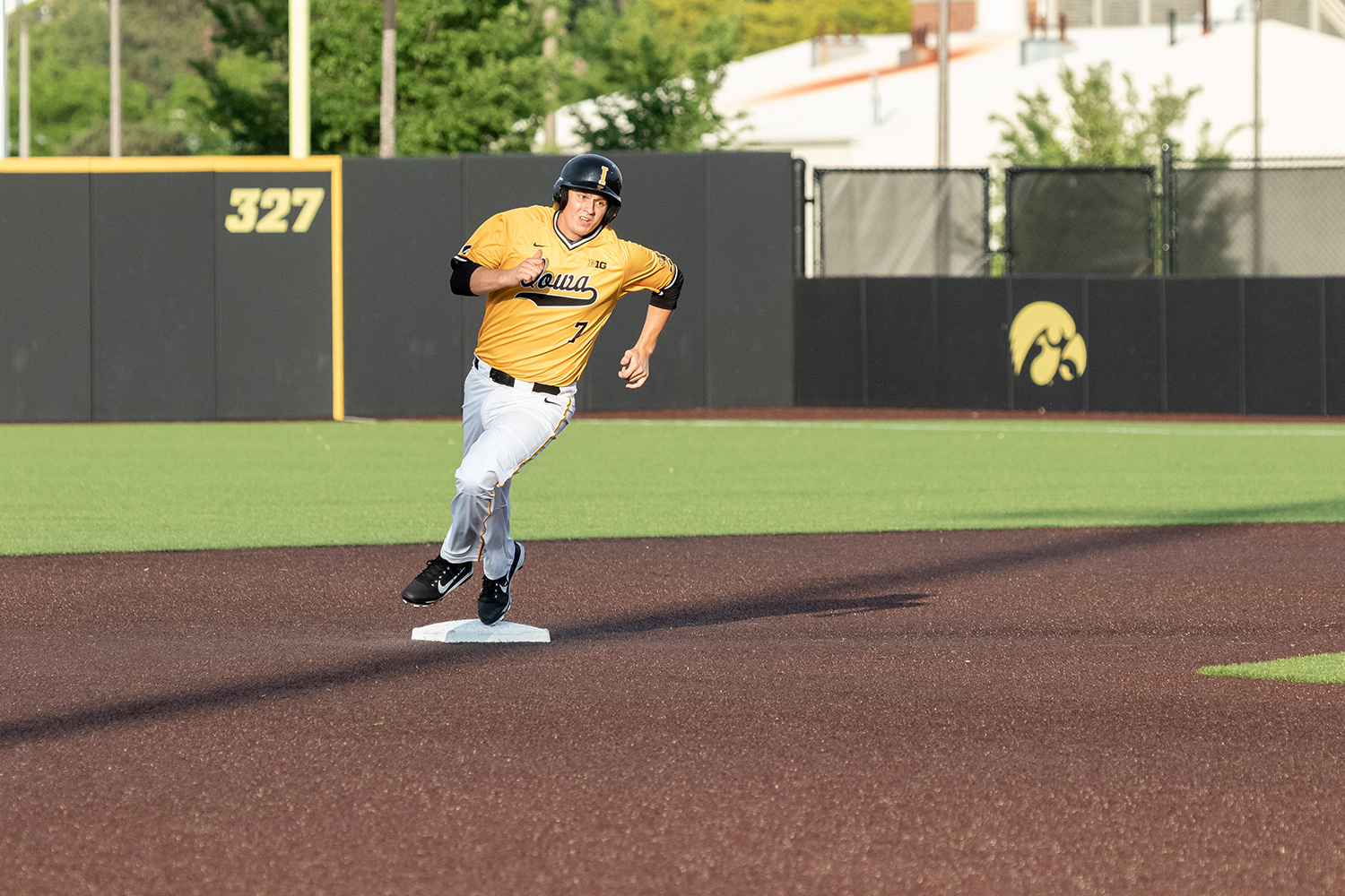 University of Iowa baseball player Grant Judkins rounds second base during a game against Penn State University on Saturday, May 19, 2018. The Hawkeyes defeated the Nittany Lions 8-4.
