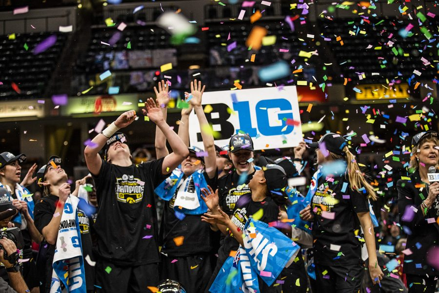 Iowa+players+celebrate+the+win+during+the+women%27s+Big+Ten+Championship+basketball+game+vs.+Maryland+at+Bankers+Life+Fieldhouse+on+Sunday%2C+March+10%2C+2019.+The+Hawkeyes+defeated+the+Terrapins+90-76+and+are+the+Big+Ten+champions.+