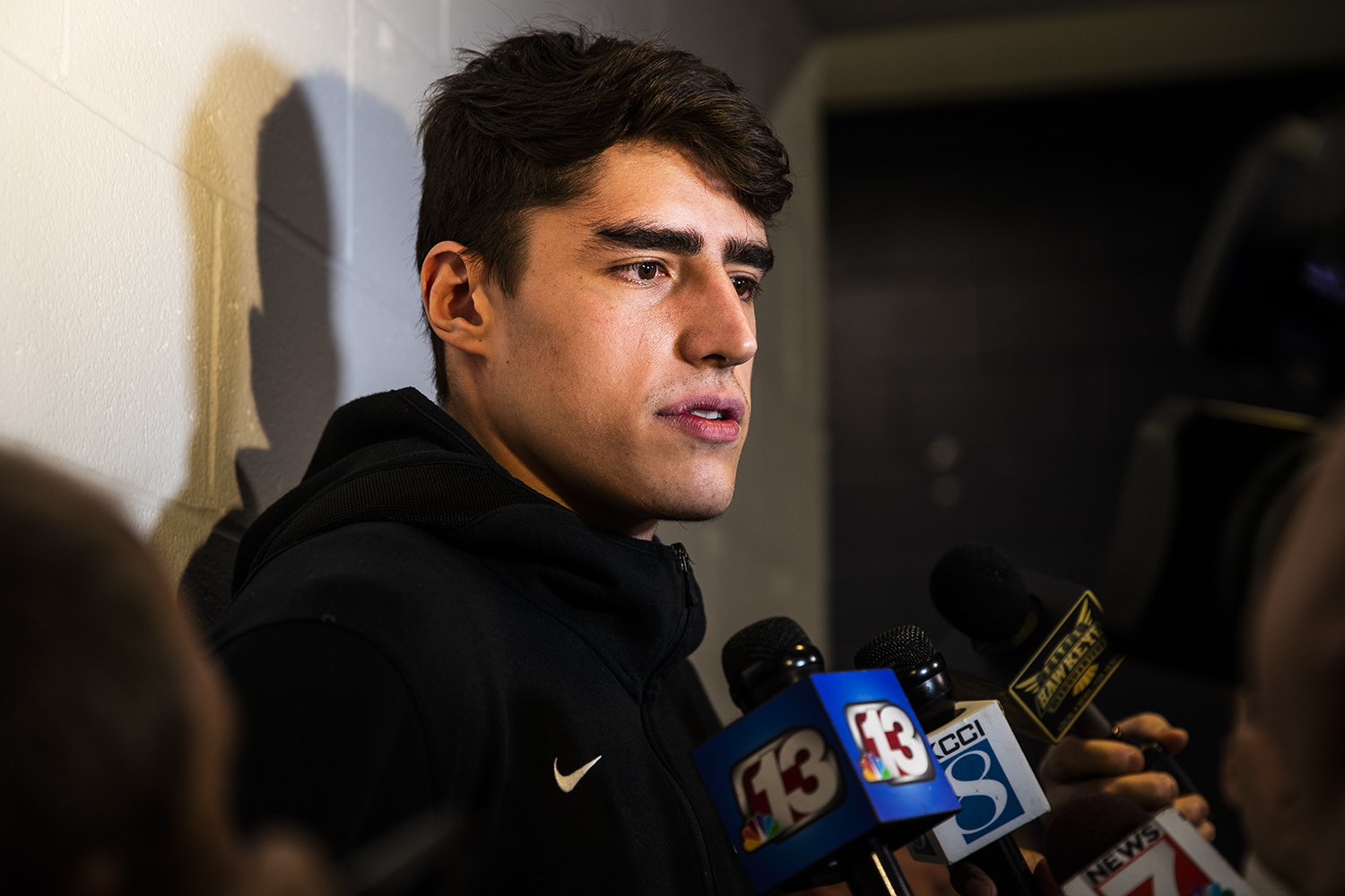 Iowa forward Luka Garza answers questions during the Iowa media availability at Nationwide Arena on Saturday, March 23, 2019.