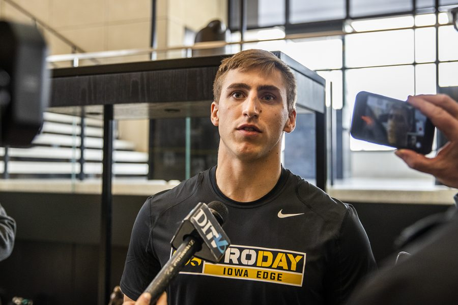 Iowa+wide+receiver+Kyle+Groeneweg+talks+to+the+media+at+Football+Pro+Day+on+Monday%2C+March+25%2C+2019.+