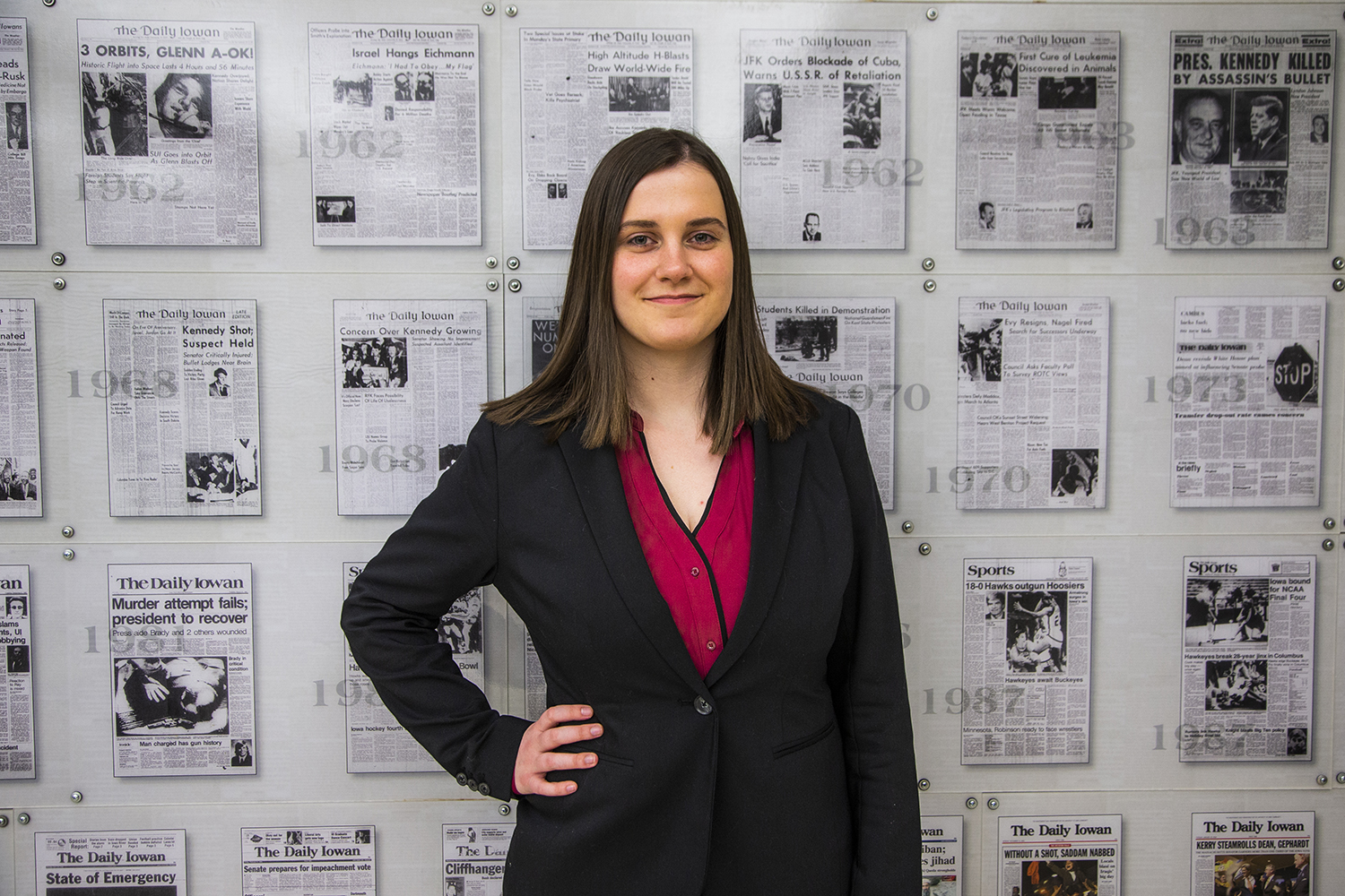Managing Editor for The Daily Iowan, Marissa Payne, poses for a portrait in the Adler Journalism Building on Monday, March 4, 2019. Payne will be the new editor-in-chief next year.