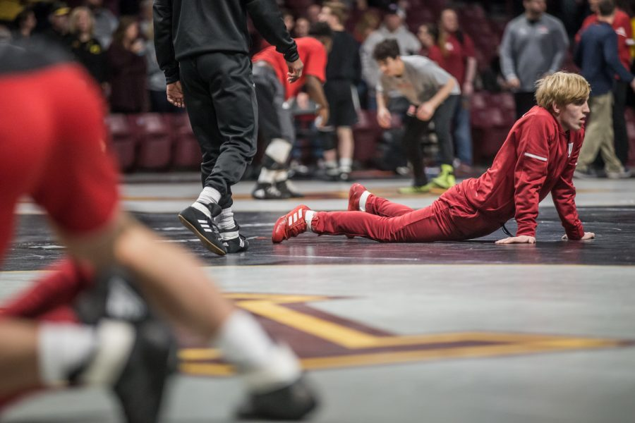 An+Indiana+wrestler+stretches+during+the+first+session+of+the+2019+Big+Ten+Wrestling+Championships+in+Minneapolis%2C+MN+on+Saturday%2C+March+9%2C+2019.