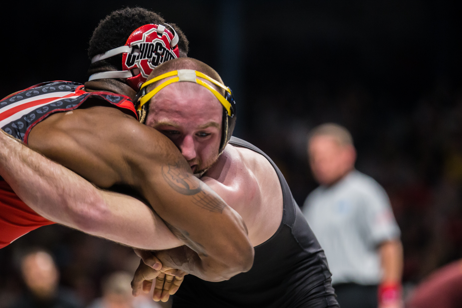 Iowa's 165-lb Alex Marinelli wrestles Ohio State's Te'Shan Campbell during the first session of the 2019 Big Ten Wrestling Championships in Minneapolis, MN on Saturday, March 9, 2019. Marinelli won by decision, 6-3.