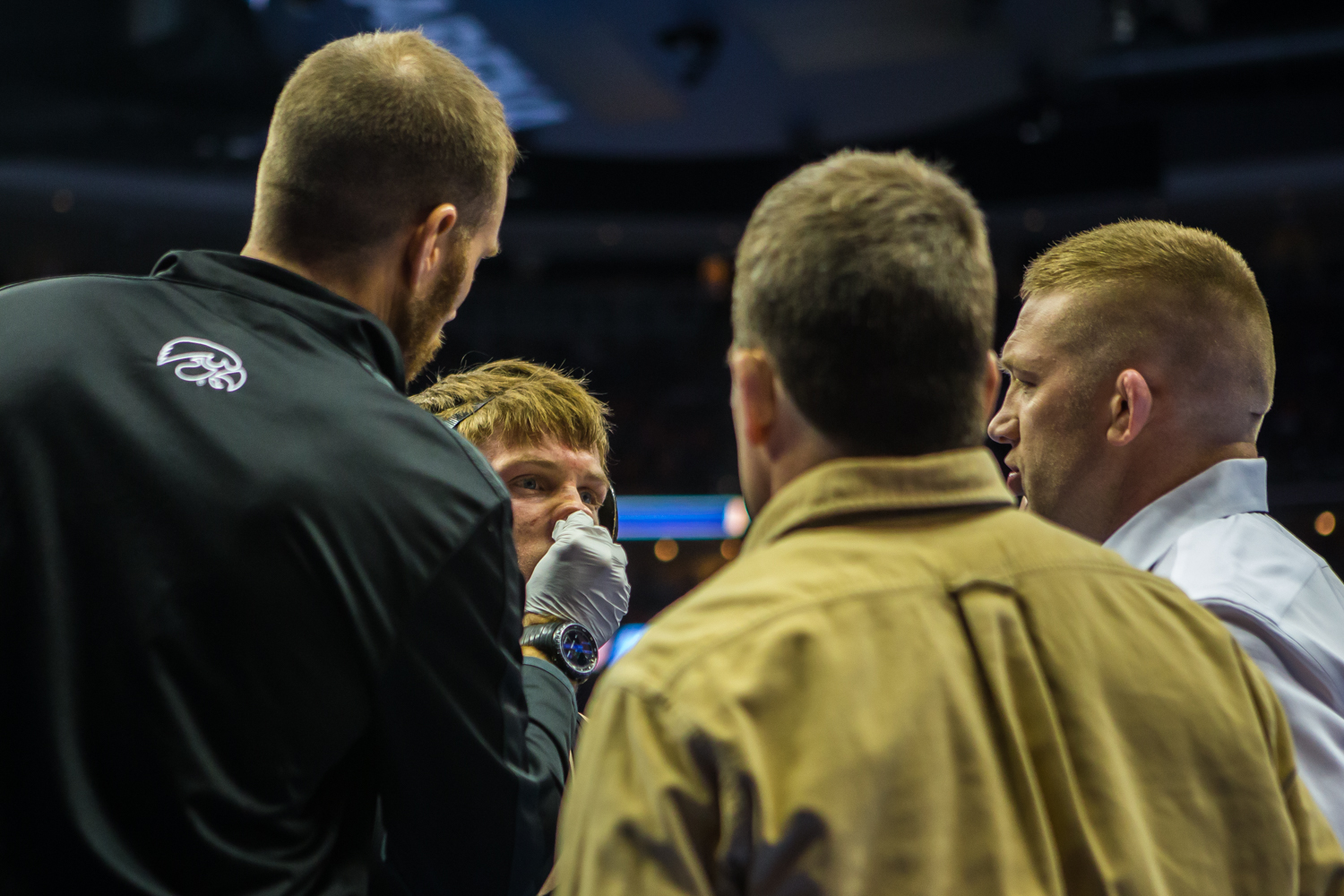 Iowa%E2%80%99s+141-pound+Max+Murin+gets+checked+by+medical+staff+during+the+fourth+session+of+the+2019+NCAA+D1+Wrestling+Championships+at+PPG+Paints+Arena+in+Pittsburgh%2C+PA+on+Friday%2C+March+22%2C+2019.+Red+won+by+decision%2C+4-1.