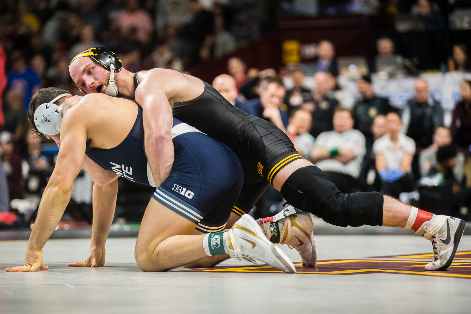 Iowa's 165-lb Alex Marinelli wrestles Penn State's Vincenzo Joseph during the fourth session of the 2019 Big Ten Wrestling Championships in Minneapolis, MN on Sunday, March 10, 2019. Marinelli won by decision, 9-3, and finished 1st in his weight class.