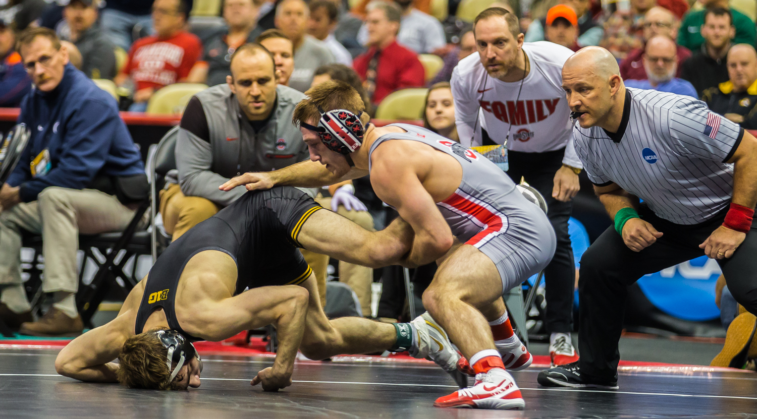 Iowa%E2%80%99s+133-pound+Austin+DeSanto+wrestles+Ohio+State%E2%80%99s+Luke+Pletcher+during+the+fifth+session+of+the+2019+NCAA+D1+Wrestling+Championships+at+the+PPG+Paints+Arena+in+Pittsburgh%2C+PA+on+Saturday%2C+March+23%2C+2019.+Pletcher+won+by+decision%2C+7-6.