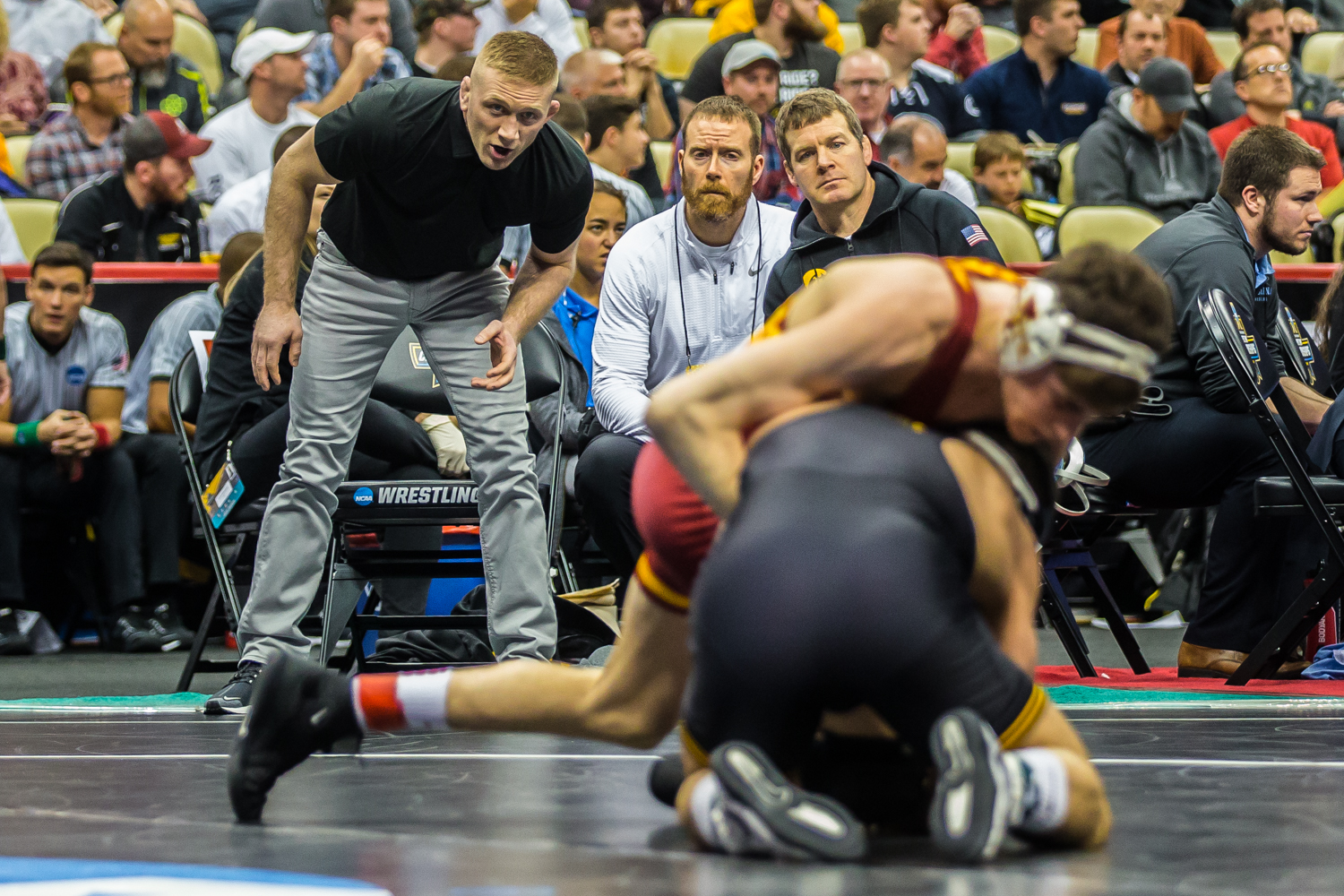 Iowa+coaches+watch+as+149-pound+Pat+Lugo+wrestles+Iowa+State%E2%80%99s+Jarrett+Degen+during+the+fifth+session+of+the+2019+NCAA+D1+Wrestling+Championships+at+the+PPG+Paints+Arena+in+Pittsburgh%2C+PA+on+Saturday%2C+March+23%2C+2019.+Degen+won+by+decision%2C+11-9%2C+and+earned+seventh+in+the+weight+class.