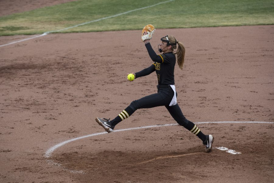Pitcher Allison Doocy pitches during softball against Northwestern on Bob Pearl Field on March 30, 2019. The Wildcats defeated the Hawkeyes 6-2. Doocy pitched the entire game.
